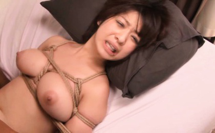 Japanese av model. Japanese AV Model with great bust in ropes is
